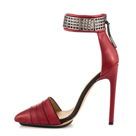 Red Stiletto Heel Covering Heel Classic Pumps