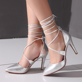 PU Round Toe Lace-Up Pumps