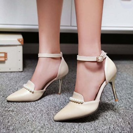 Beading Pointed Toe Ankle Strap Pumps