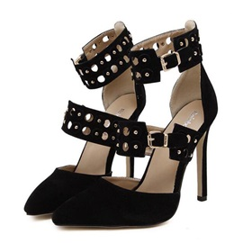 Suede Studded Stiletto Heel Pumps
