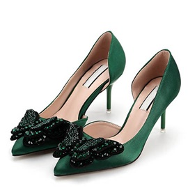 Rhinestone Pointed Toe Classic Pumps