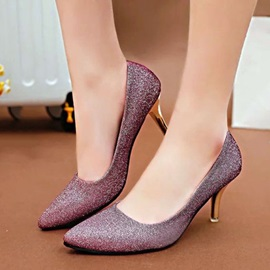 Sequins Round Toe Slip-On Classic Pumps