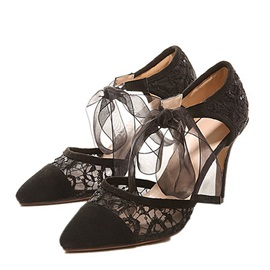 Black Lace Patchwork Lace-Up Pumps