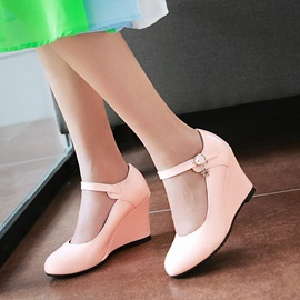 Solid Color PU Round Toe Wedges