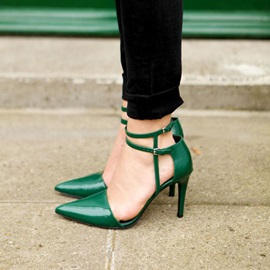PU Deep Green Line-Style Buckle Pointed Toe Stiletto Heel Pumps