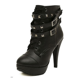 Fashion Black PU Upper Platform Stiletto Heels Ankle Boots with Double Straps