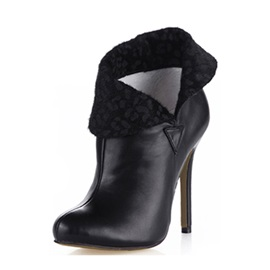 Latest Popularable Black Leopard Print Lapel Stiletto Heel Ankle Boots