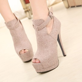 Dull Polish Peep-toe Ankle Strap Stiletto Heel Sandals