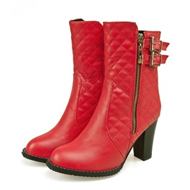 Buckles Side Zipper Chunky Heel Booties