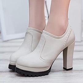 Solid Color Thread Chunky Heel Women's Ankle Boots