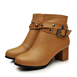 Rivets Chunky Heel Women's Motorcycle Boots