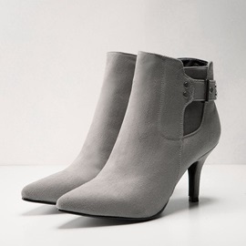 Suede Side-Zipper Pointed Toe Booties
