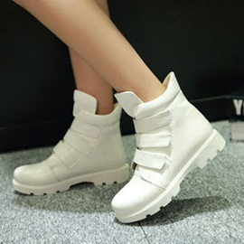 Solid Color Velcro Round Toe Booties