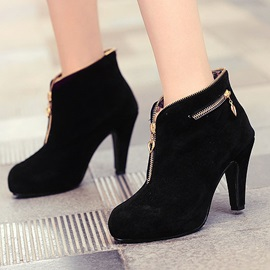 Suede Zippered Platform Ankle Boots