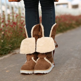 Suede Round Toe Lace-Up Snow Boots