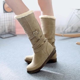 Suede Buckles Slip-On Knee High Boots
