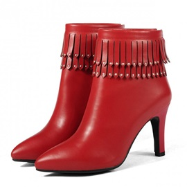 Solid Color Tassels Pointed Toe Booties