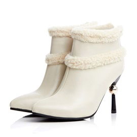 Purfle Pointed Toe Back-Zip Booties
