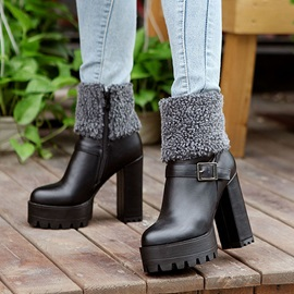 PU Patchwork Wedge Sole Chunky Heel Ankle Boots