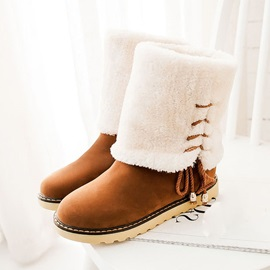 Faux Fur Fold Over Round Toe Snow Boots