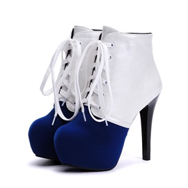 Color Block Stiletto Heel Lace-Up Booties