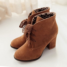 Suede Lace-Up Front Booties