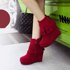 Tassels Suede Wedge Boots