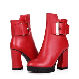 Buckles Chunky Heel Ankle Boots