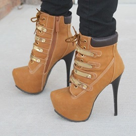 PU Thread Stiletto Heel Lace-Up Ankle Boots