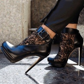 Black Lace Patchwork Stiletto Heel Ankle Boots