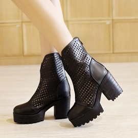 Solid Color Hollow Chunky Heel Ankle Boots