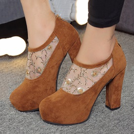 Suede Lace Patchwork Zippered Ankle Boots