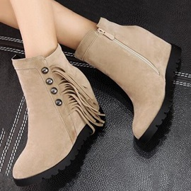 Studded Suede Tassels Wedge Boots