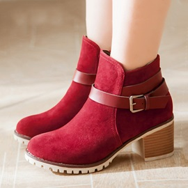 Suede Zippered Chunky Heel Short Boots