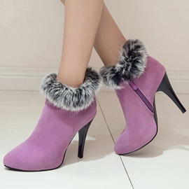 Faux Fur Suede Zippered Heeled Booties