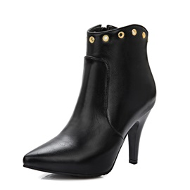 Solid Color PU Low-Heel Booties