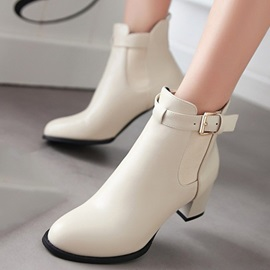 Solid Color Buckles Chunky Heel Booties