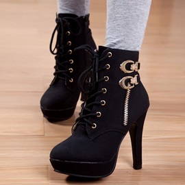 Solid Color PU Platform Ankle Boots