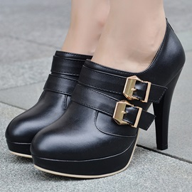 PU Buckles Back-Zip Ankle Boots