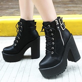 Black Faux Leather Block Heel Lace-Up Booties