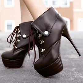 Solid Color Lace-Up Platform Booties