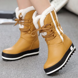 PU Lace-up Platform Round-Toe Snow Boots