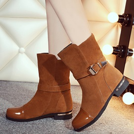 Nubuck Leather Slip-On Thread Ankle Boots
