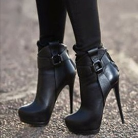 PU Back Zip Platform Stiletto Heel Ankle Boots