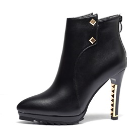 PU Back Zip Rivet Stiletto Heel Ankle Boots