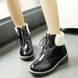 PU Lace-Up Front Flocking Ankle Boots