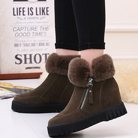 PU Side Zipper Platform Thread Fashion Snow Boots