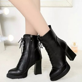 PU Side Zipper Lace-Up Platform Thread Martin Boots