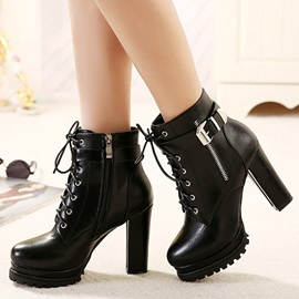 PU Side Zipper Platform Thread Block Heel Martin Boots