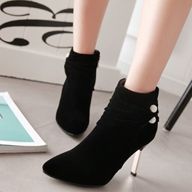 PU Rhinestone Side Zipper Thread Stiletto Heel Boots